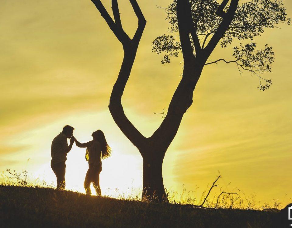 Foto do marido segurando e beijando a mão de sua esposa com um por do sol ao fundo.