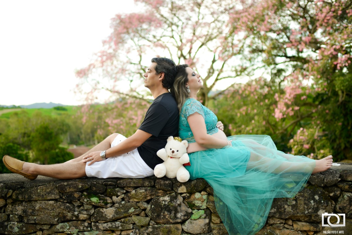 Foto da gestante e seu marido sentados em um muro com uma bela árvore ao fundo.